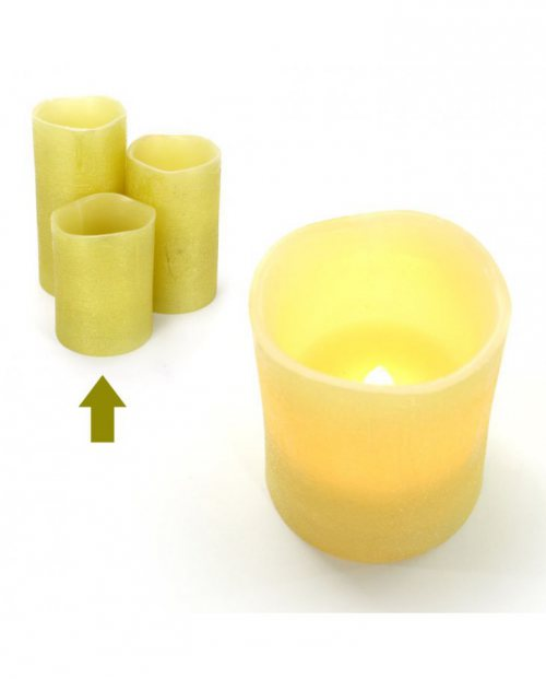 SET de 4 Velas Terra con luz Led en color oro