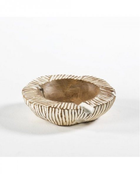 Bowl de madera en color blanco para decorar la casa