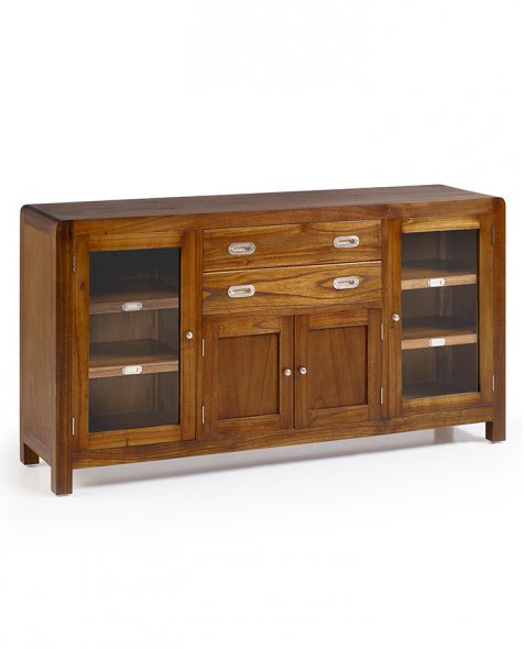 Buffet vitrina de madera Flash estilo colonial