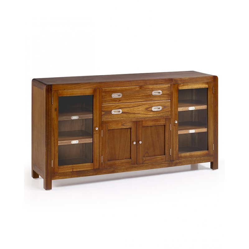 Comprar buffet vitrina de madera flash estilo colonial for Muebles estilo colonial