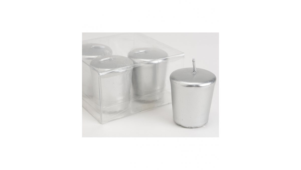Set de 16 velas Votiva de color plata decorativas