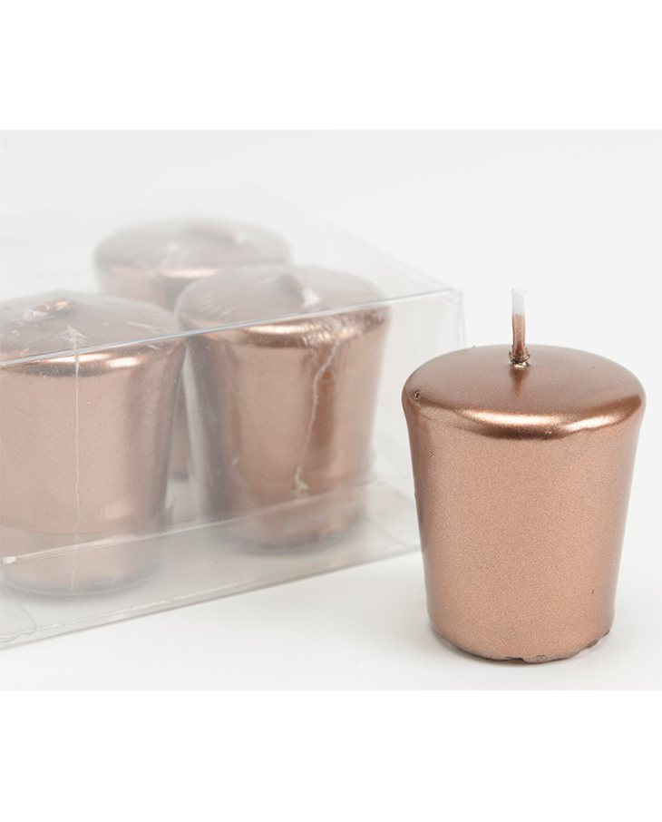 Set de 16 velas Votiva de color cobre decorativas